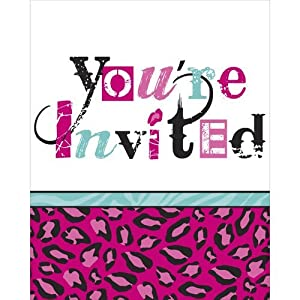 toys games party supplies invitations cardsPink Animal Print Invitations