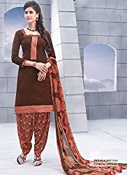 Brown Jacquard Cotton Salwar Kameez (Unstitch)