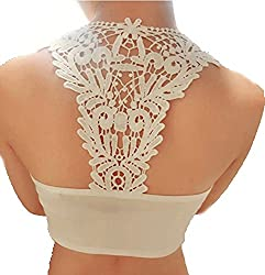 Floral Lace Net Bustier cum Readymade Blouse padded with Soft Cups FREE SIZE (White))
