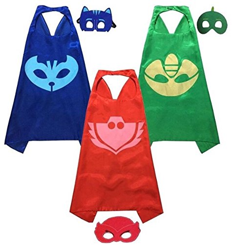 [KoolKidz PJ Masks Costumes for Kids Catboy Owlette Gekko, 3 Satin Capes and 3 Felt, Set of 3] (Pj Mask Costume)