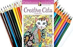 Creative Haven Creative Cats INCLUDES SET OF Twiggler COLORED PENS and PENCILS (Book & Colored Pens/pencils)