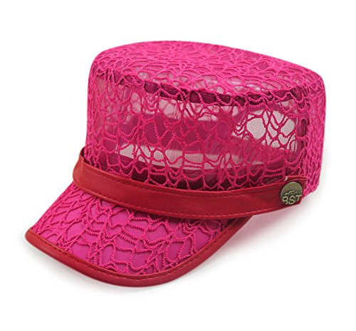 Idowind® Chic Womens Lace Hollow-out Mesh Sunproof Flat Hat Hip-hop Army Cap Pink 56-60cm/21.8-23.4inch (Pink Pork Pie Hat compare prices)