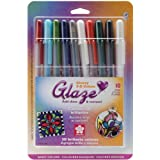 Sakura 38369 10-Piece Blister Card Glaze 3-Dimensional Glossy Ink Pen Set, Assorted Color