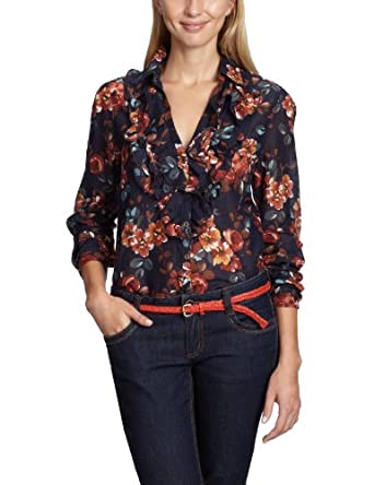 Oui - Blouse - Femme - Multicolore (Dkblue Brown 578) - FR : 44 (Taille fabricant : 42)