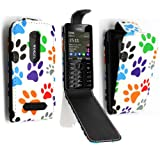 GSDSTYLEYOURMOBILE {TM} NOKIA ASHA 206 MULTI DOG CAT PAW FOOT PU LEATHER MAGNETIC FLIP CASE SKIN COVER POUCH