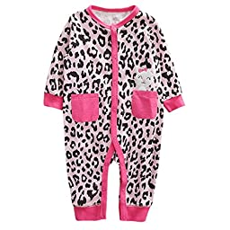 Baby Girls Toddler Long Sleeve Leopard Pink Cotton Homewear Romper Outfit Kitty Jumpsuit 12-18M