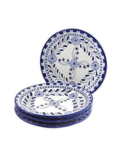Le Souk Ceramique Azoura Set of 4 Side Plates, Blue/White