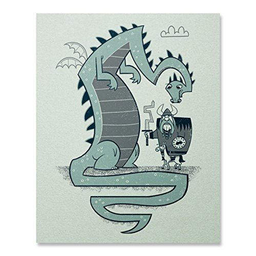 hefty-hero-print-dragon-print-viking-print-medieval-wall-art-funny-art-home-decor-8-x-10-18-x-24