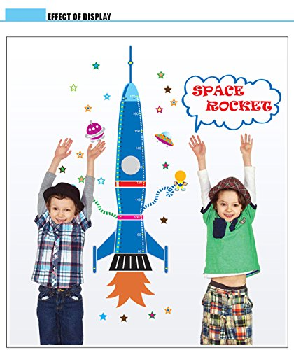 Fastgrow Wall Decor Growth Chart with Measurement in Inches and Centimeters (Rocket)