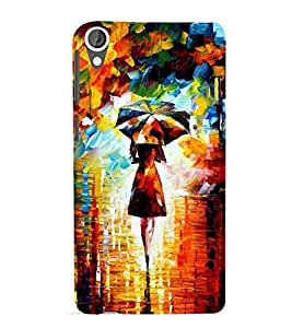 Girl with Umbrella Painting 3D Hard Polycarbonate Designer Back Case Cover for HTC Desire 820 :: HTC Desire 820 Dual Sim :: HTC Desire 820S Dual Sim :: HTC Desire 820q Dual Sim :: HTC Desire 820G+ Dual Sim