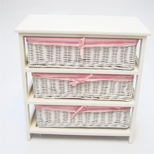 WHITE PINK WIDER BASKET BEDSIDE TABLE NURSERY KIDS BEDROOM BATHROOM STORAGE UNIT