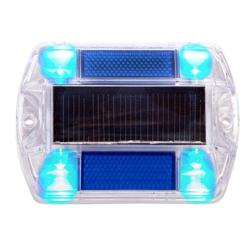 Blue Polycarbonate Solar Road Stud Path Deck Dock Led Lights (2 Pack)
