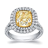18k Two Tone Gold Cushion Double Halo Engagement Ring ( 4 cttw, Light Yellow, VS2-SI1)