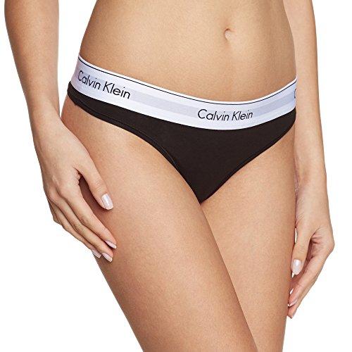 Calvin Klein - Bikini Bottom Thong, Donna, Nero (001), Small