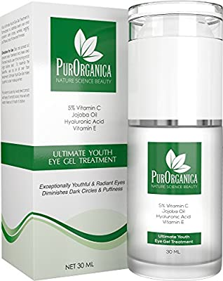PurOrganica EYE CREAM for Dark Circles, Puffiness, Eye Bags, Wrinkles and Crow's Feet – DOUBLE SIZED 30ML - Organic Anti Ageing Cream with Vitamin C, Hyaluronic Acid, Jojoba Oil and Vitamin E - Best Natural Treatment for Women and Men - 100% Satisfaction