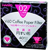 Hario VCF-02-40W 1-Piece Box of Paper Filter for 02 Dripper, White