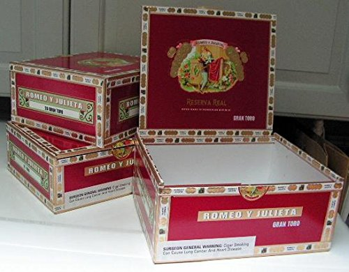 Cigar box, empty, paper covered wooden one 0