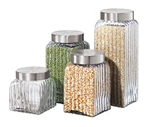 Oggi Ribbed Glass 4-Piece Canister Set, Clear