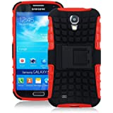 JKase DIABLO Series Tough Rugged Dual Layer Protection Case Cover with Build in Stand for Samsung Galaxy S4 SIV I9500 - Retail Packaging (Red)
