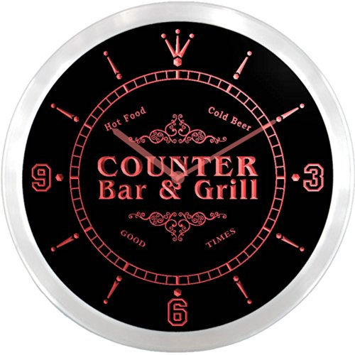 Ncu09273-R Counter Family Name Bar & Grill Cold Beer Neon Sign Led Wall Clock