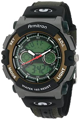Armitron Sport Men's 201437GRN Chronograph Analog-Digital Instalite Black Watch