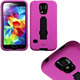 """myLife (TM) Bright Magenta Pink and Galaxy Black - Shock Suit Survivor Series (Built in Kickstand + Easy Grip Silicone) 3 Piece + 2 Layer Case for NEW Galaxy S5 (5g) Smartphone By Samsung (External Flex Silicone Bumper Gel + Internal 2 Piece Rubberized Snap Fitted Armor Protector + Shock Absorbing Material + Lifetime Warranty + Sealed Inside myLife Authorized Packaging) """"Additional Details: This 3 Piece Galaxy S5 Case Comes with a Built in Vertical and Horizontal Standing Kick Stand That Is Perfect for Keeping Your Cell Phone Upright While Watching Movies Netflix Youtube or Just Regular Use."""""""