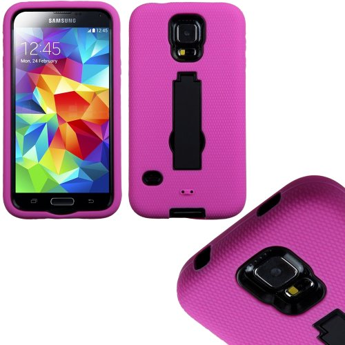 Mylife (Tm) Bright Magenta Pink And Galaxy Black - Shock Suit Survivor Series (Built In Kickstand + Easy Grip Silicone) 3 Piece + 2 Layer Case For New Galaxy S5 (5G) Smartphone By Samsung (External Flex Silicone Bumper Gel + Internal 2 Piece Rubberized Sn