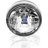 """7"""" Black High Power 35W Amber 3000K Clear Lens High Low Beam Headlight Head Lamp Light For Custom Motorcycle Cruiser Chopper Bobber"""