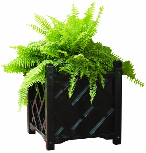 DMC Products Chippendale 18-Inch Square Solid Wood Planter, Black