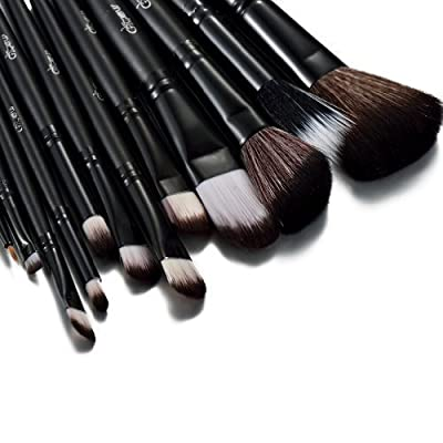 Glow 12 Pc Professional Crocodile Leather Design Makeup Brushes (Black)