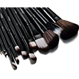 Glow Black 12 Pc Makeup Brushes Set with Crocodile Leather Design Case