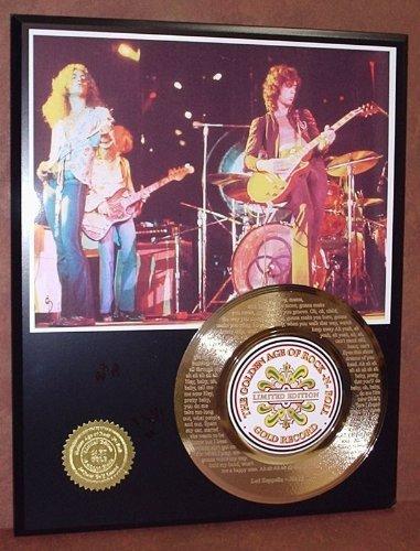 """Led Zeppelin """"Black Dog"""" 24Kt Gold 45 Record Ltd Edition Display Laser Etched W/ Lyrics"""