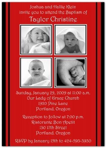 2 + 2 On Red & Black Baptism Invitations Christening Invitations - Set Of 20 front-988235