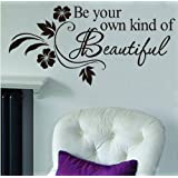 Newsee Decals DIY Be Your Own Kind Beautiful Flower Vine Wall Sticker Art Decor Decal Quote (BLACK, 1)