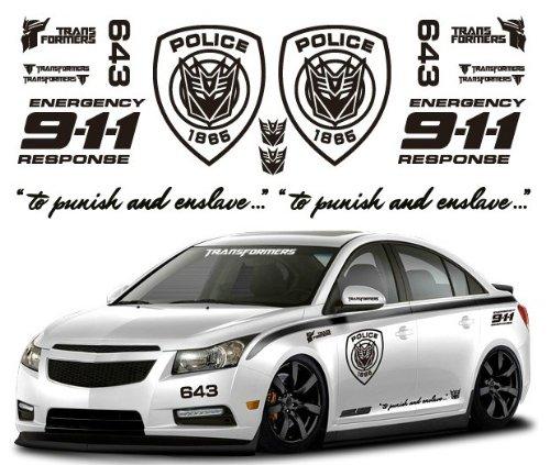 Ginovo black color car refitting 9 11 police transformers car sticker decal for mg6 k2 k5 focus cruze lancer