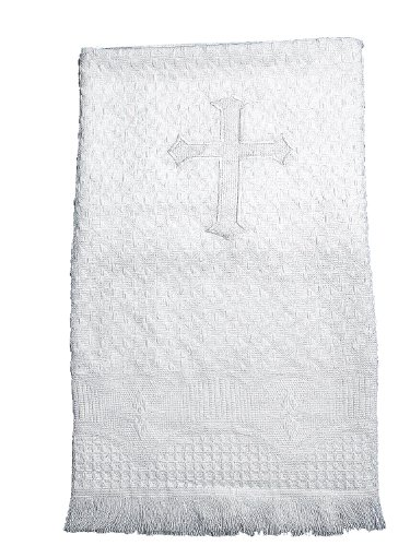 Lauren Madison boy-girl Unisex Christening Baptism Embroidered Cross Blanket, White, One Size