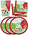 Barnyard Farm Animals Birthday Party Supplies Set Plates Napkins Cups Tableware Kit for 16
