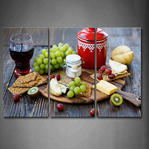 First Wall Art® - Wine And Grapes Cheeses Wall Art Painting The Picture Print On Canvas Food Pictures For Home Decor Decoration Gift (Cheese Wall Art compare prices)