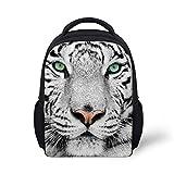 HUGSIDEA White Tiger Head Print Backpack for Kids Baby Small Bookbag