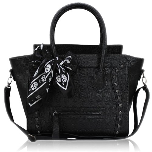 Miss Lulu Womens Faux Leather Skull Handbag Black & White L1101 BK WE