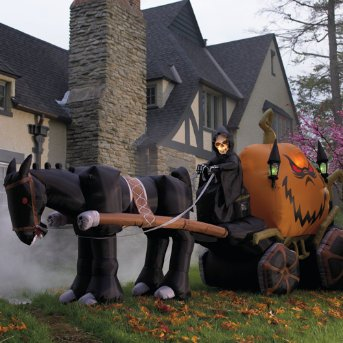 halloween inflatables:Inflatable 15' halloween night Grim Reaper & Pumpkin buggy -Halloween blow up - Grandin street Images