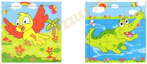2pcs Wooden Cartoon Animal Jigsaw Puzzle Early Educational Toys Gifts (Bird + Crocodile?
