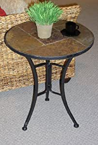 4D Concepts Slate Round Top Coffee Table, Metal/ Slate