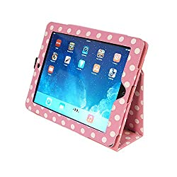 Kyasi Seattle Classic Folio Case Cover Stand in Premium PU Leather for Apple iPad Air, Polka Dots
