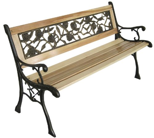3 Seater Wooden Slat Garden Bench Seat Rose Style Cast Iron Legs