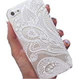 iPhone 5S Case, Wendy's StoresTM Clear Plastic Case Cover for Apple Iphone 5 5S 5G (Henna White Floral Paisley Flower Mandala)