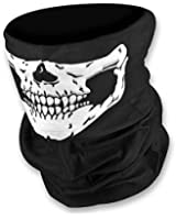 WOVTE Seamless Multi Function Skull Tube Tubular Half Face Mask Headband Headwear Bandana Neck Warmer Black Pack of 2