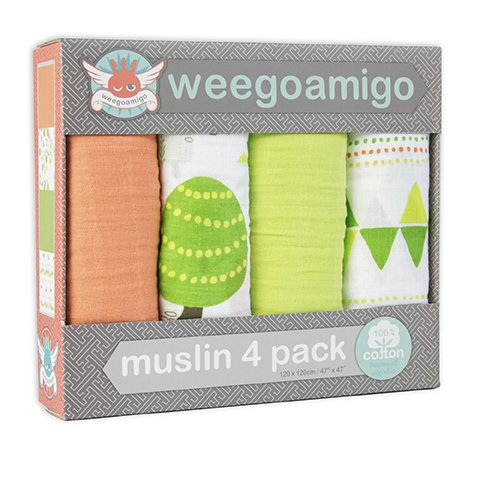 Weegoamigo Four Pack Muslin Swaddle - Foxies' Run - 1