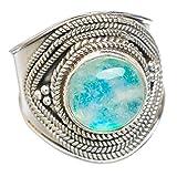 Rainbow Moonstone, Pierre de Lune Arc-En-Ciel Argent Sterling 925 Bague 9