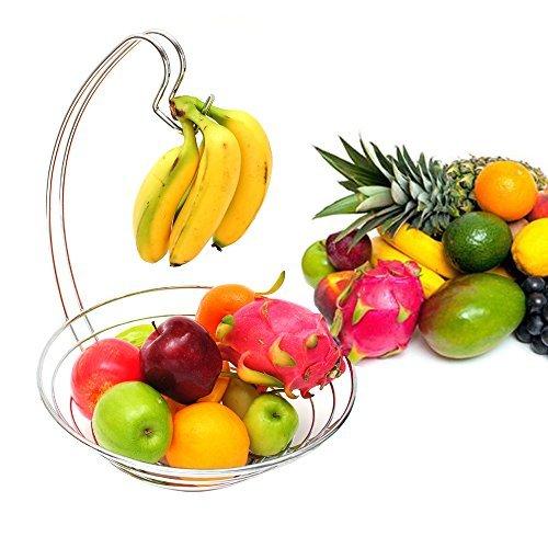 Decorative Fruit Basket,Kitchen Chrome Organize Fruit Basket with Banana Hanger by LivingAid (Pantry Works Fruit Basket compare prices)